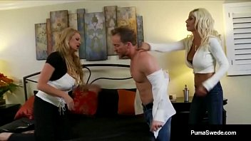 swede puma double threesome with Cuckold granny wife