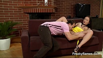 lesbians face aggressive squirting 3some with strapon